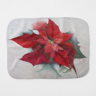 Poinsettia Christmas Oil Painting Baby Burp Cloth