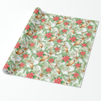 Poinsettia Christmas pattern Wrapping Paper
