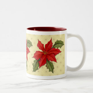 Poinsettia Christmas Two-Tone Coffee Mug