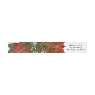 Poinsettia Christmas Wrap Envelope Label