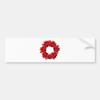 Poinsettia Christmas Wreath Bumper Stickers