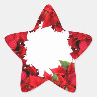Poinsettia Christmas Wreath Star Sticker