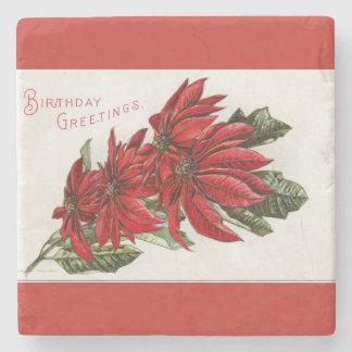 Poinsettia December Birthday Stone Coaster
