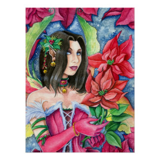 Poinsettia Fairy Fantasy Christmas Fine Art Poster