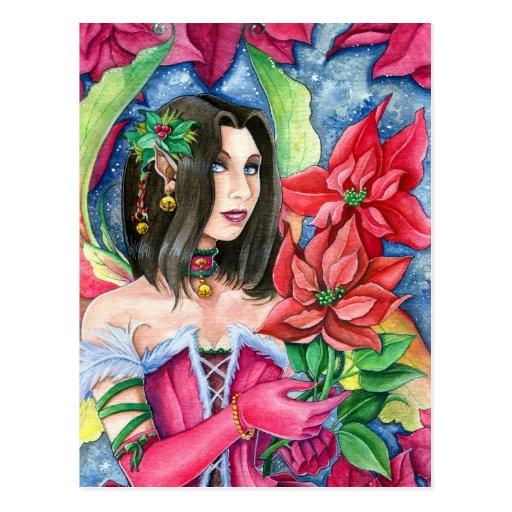 Poinsettia Fairy Postcard- Christmas Holiday Art