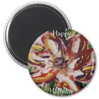 Poinsettia Fine Art Happy Holidays 6 Cm Round Magnet