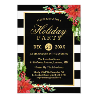 Poinsettia Floral Gold Frame Striped Holiday Party Card