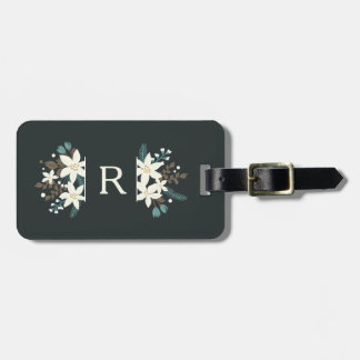 Poinsettia Floral Monogram Luggage Tag