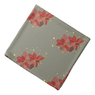 Poinsettia flowers with gold dots greige bandana