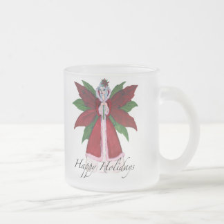 Poinsettia Frosted Glass Coffee Mug