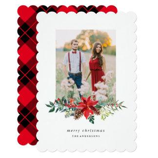 Poinsettia Garland Photo Card