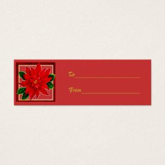 Poinsettia Gift Tag Mini Business Card