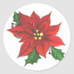 Poinsettia Greeting Card Sticker