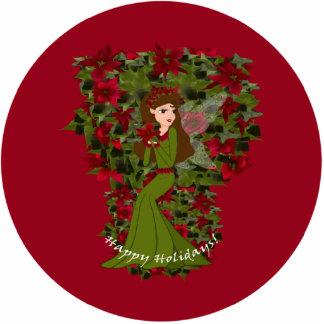 Poinsettia Happy Holiday  Faery Ornament Photo Sculpture Decoration