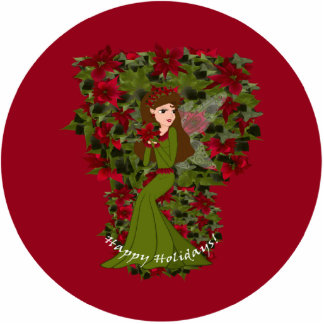 Poinsettia Happy Holiday  Faery Ornament Photo Sculpture Decoration