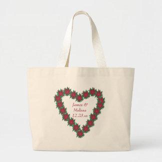 Poinsettia Heart Christmas Wedding Tote Bags