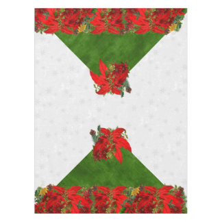 Poinsettia Holiday Bouquet   Christmas Red n Gold Tablecloth