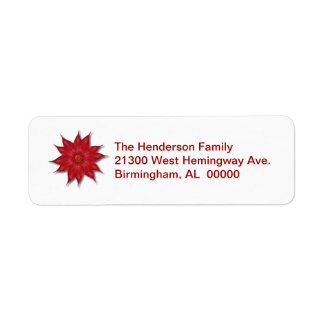 Poinsettia Holiday Return Address Label