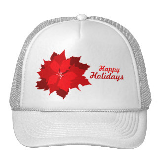 Poinsettia holidays Christmas red and white hat