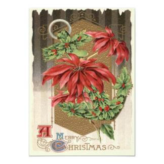Poinsettia Holly Anchor Nautical 13 Cm X 18 Cm Invitation Card