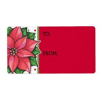 Poinsettia Joy dots Gift Tag Sticker Shipping Label