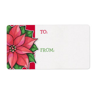 Poinsettia Joy red Gift Tag Sticker Shipping Label