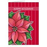 Poinsettia Joy red stripes Holiday Card