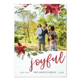 Poinsettia Joyful Christmas Photo Holiday Card