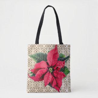 Poinsettia & Lace Christmas Holidays Tote Bag