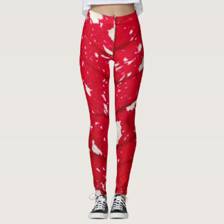 Poinsettia Leaf Texture Leggings