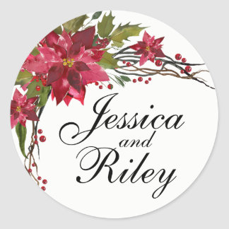 Poinsettia Leaves & Berries Monogram Classic Round Sticker
