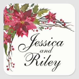 Poinsettia Leaves & Berries Monogram Square Sticker