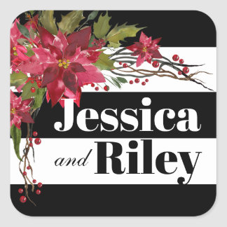 Poinsettia Leaves & Berries Monogram Stripes Square Sticker