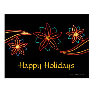 Poinsettia Lights Postcard