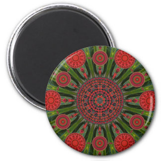 Poinsettia Mandala Round Christmas Magnet