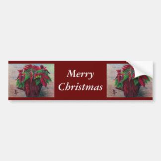 Poinsettia Merry Christmas Bumper Sticker Car Bumper Sticker