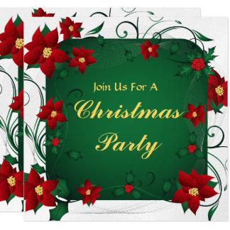 Poinsettia Merry Christmas Party Card