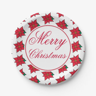Poinsettia Merry Christmas Party Paper Plates