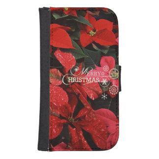 Poinsettia, merry christmas samsung s4 wallet case
