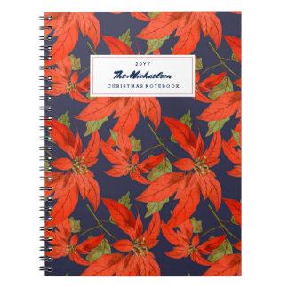Poinsettia Pattern Blue Christmas Planner Notebooks