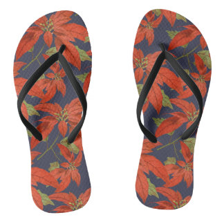 Poinsettia Pattern Seasonal Flip Flops Thongs