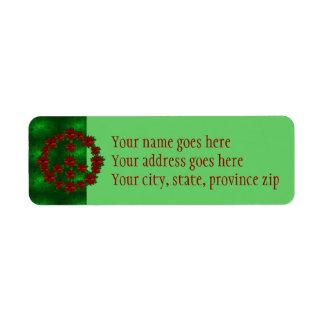 Poinsettia Peace Sign Return Address Label