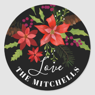 Poinsettia Pine Mistletoe Holly Christmas Gift Classic Round Sticker