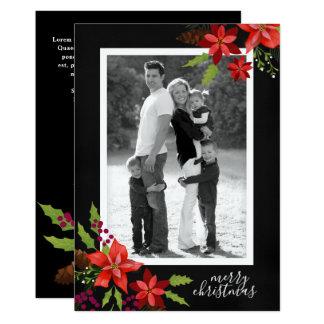 Poinsettia Pine Mistletoe Holly Christmas Photo Card