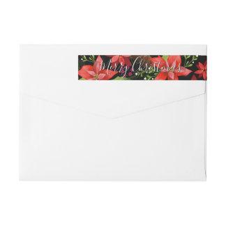 Poinsettia Pine Mistletoe Holly Merry Christmas Wrap Around Label