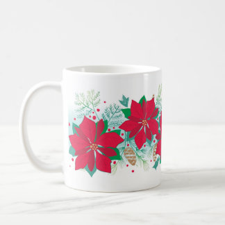 Poinsettia Pinecone Christmas Mug