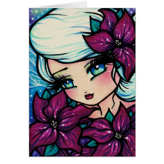 Poinsettia Pixie Winter Fairy Christmas Art Card