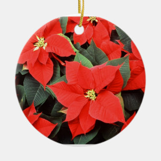 Poinsettia Red Flower Floral Round Ceramic Decoration