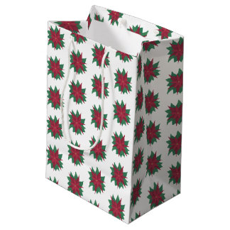 Poinsettia Red Green Christmas Flowers Gift Bags