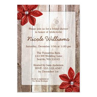 Poinsettia Rustic Barn Wood Bridal Shower Card